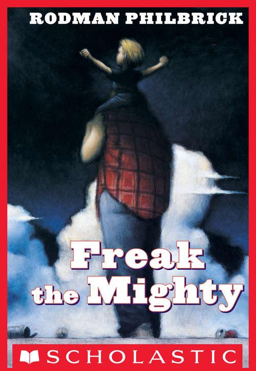 Collection sample book cover Freak the Mighty, boy with arms raised sitting on mans shoulders