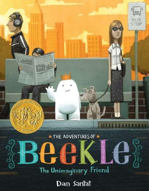 Collection sample book cover The Adventures of Beekle, white cartoon blob with face and hands waiting at a bus stop with others