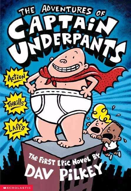 Collection sample book cover Captain Underpants, illustration of Captain Underpants on top of a building