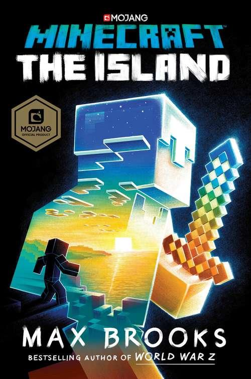 Collection sample book cover Minecraft: The Island, minecraft figure with scene of birds-eye view of island