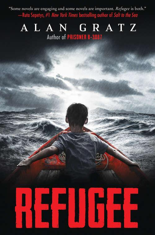 Collection sample book cover Refugee, boy in a rowboat in a storm