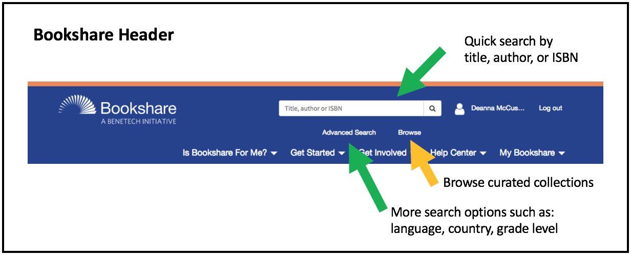 Screenshot of banner highlighting the Browse, Advanced Search, and Quick Search elements