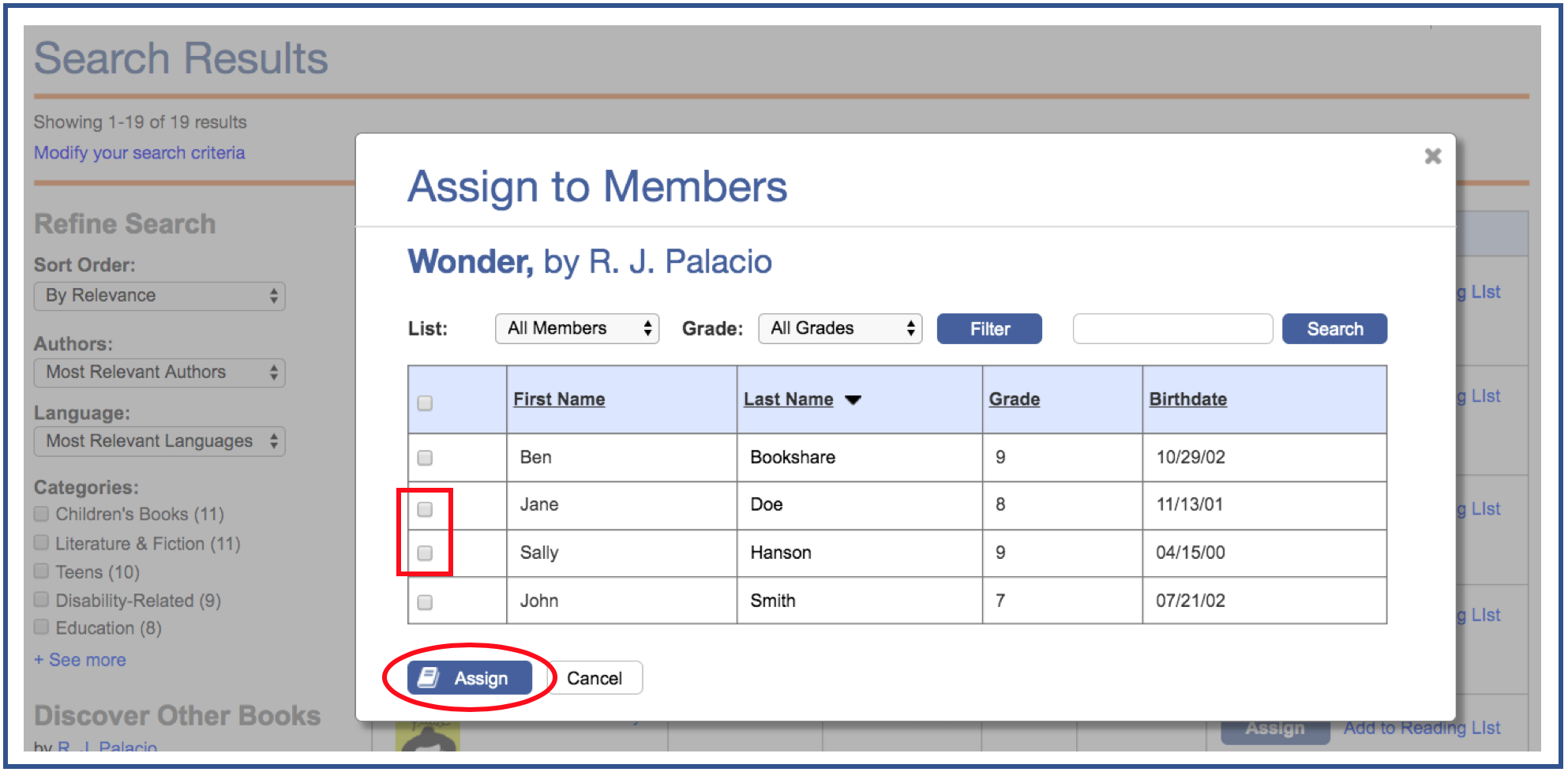 Assign to member modal highlighting two check boxes next to member names and the assign link