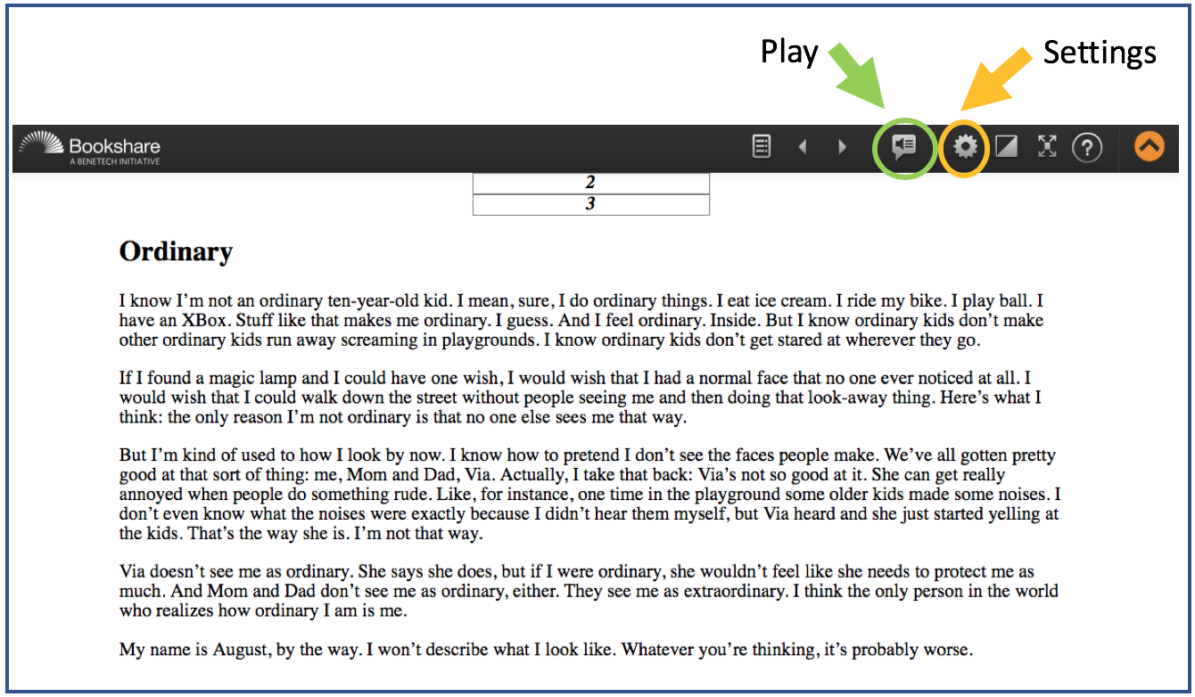 Web Reader highlighting the Play and Settings buttons